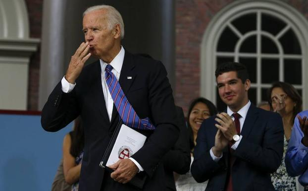 Joe Biden, exvicepresidente de Estados Unidos, en Harvard.