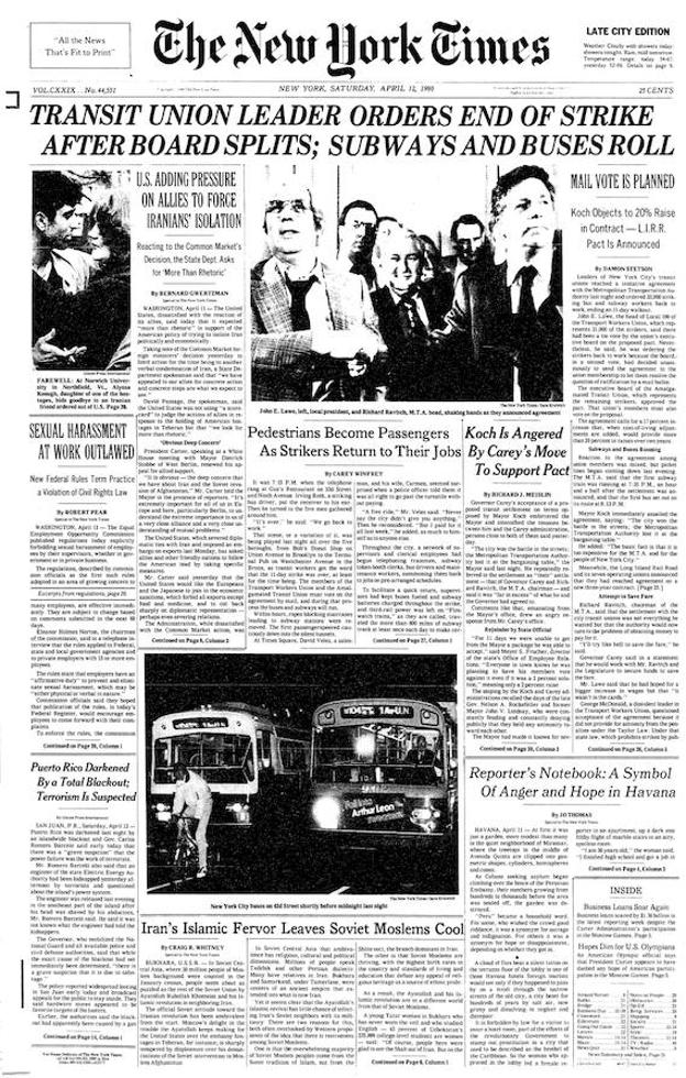 Primera página de 'The New York Times' del 12 de abril de 1980.