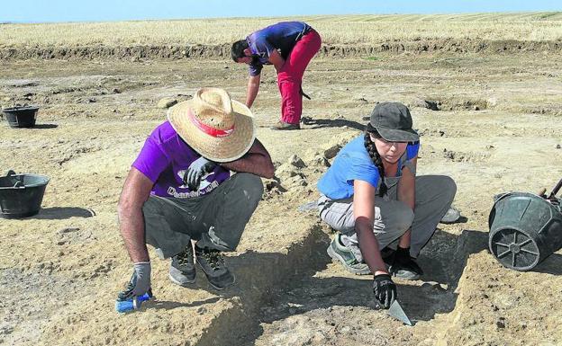 Estudiantes de arqueología, en una de las parcelas del yacimiento de Dessobriga. /Manuel Brágimo
