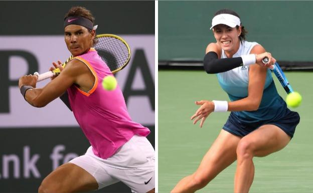 Rafa Nadal y Garbiñe Muguruza en Indian Wells./AFP