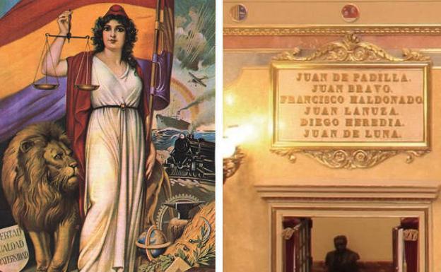Imagen de la República donde la franja morada de la bandera tricolor pretendía simbolizar el color del pendón que los comuneros y lápida que recuerda a los revolucionarios como Beneméritos de la Patria en el Congreso de los Diputados.